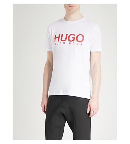 logo Camiseta estampado jersey Blanca con de algodón de de HUGO gOgq0wA