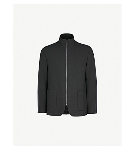 HUGO Funnel neck woven jacket (Black