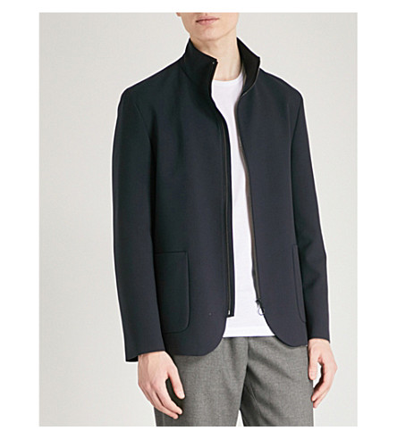 HUGO Funnel neck woven jacket (Navy