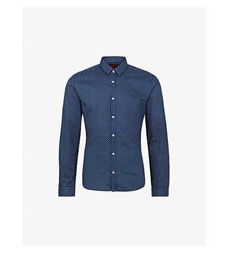 HUGO Polka dot-patterned extra slim-fit cotton shirt (Navy