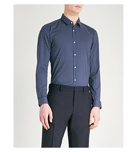 HUGO Polka dot-patterned extra slim-fit cotton shirt (Navy