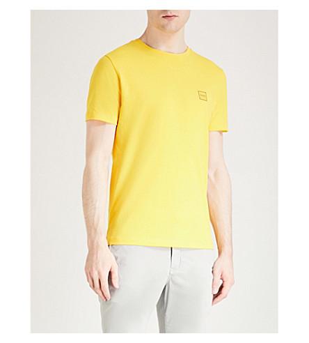 de camiseta parche jersey amarillo BOSS algodón Logo medio BwP54t