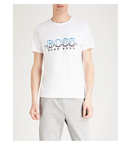 GREEN BOSS White print jersey T cotton shirt Logo BOSS GREEN Uf4nw1xqvE
