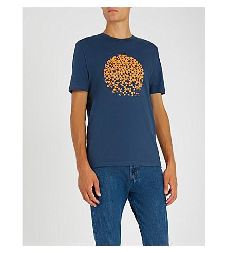 BOSS 图形打印平纹针织棉 T 恤 (打开 + 蓝色