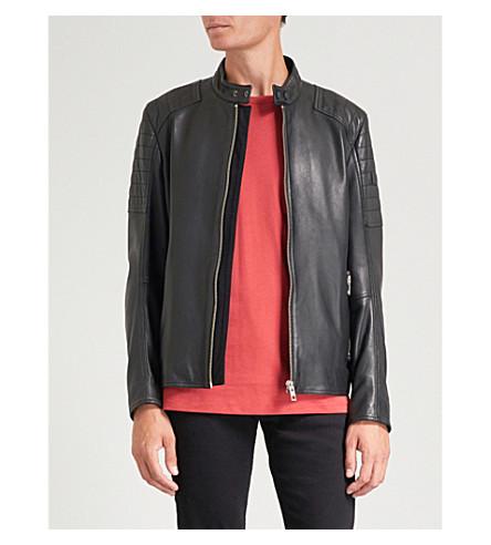 BOSS Quilted shoulder leather jacket (Black