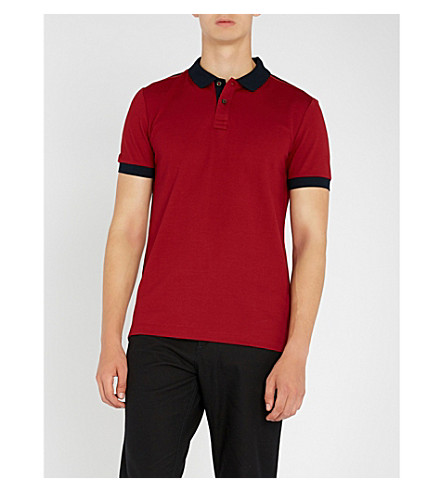 BOSS Contrast-trim cotton-piqué polo shirt (Dark+red