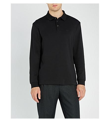BOSS 休闲平纹针织棉 Polo 衫 (黑色