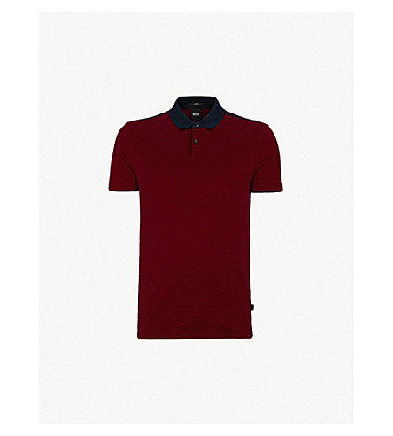 BOSS 平纹针织棉 Polo 衫 (暗 + 红