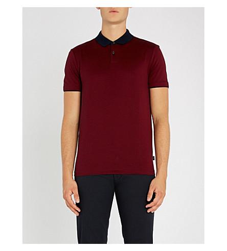 BOSS Cotton-jersey polo shirt (Dark+red