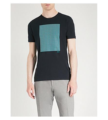 Camiseta estampado de geométrico de jersey blue Open con algodón BOSS HZrHw