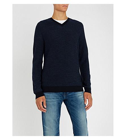 BOSS V领羊毛毛衣 (开 + 蓝