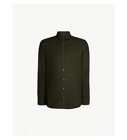 BOSS Slim-fit cotton shirt (Dark+green