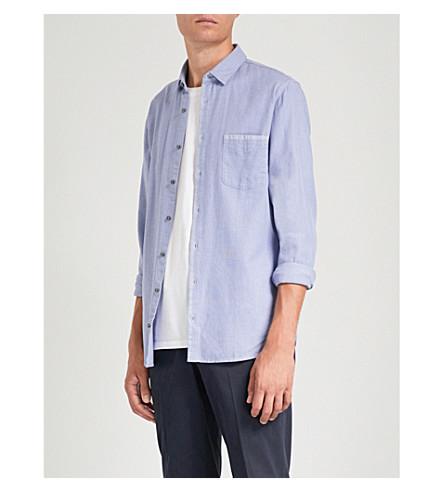 BOSS Slim-fit cotton shirt (Open+blue
