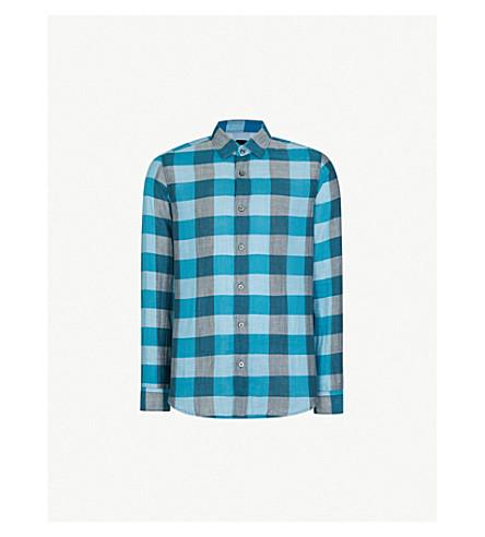 BOSS Checked regular-fit cotton shirt (Open+blue