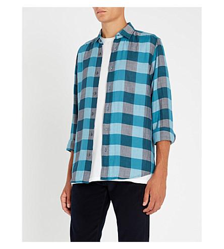 BOSS Checked-pattern cotton shirt (Open+blue