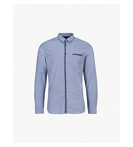 BOSS 对比修剪修身版型棉衬衫 (深色 + 蓝色