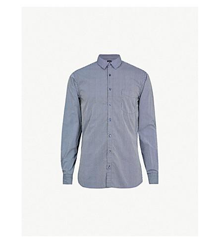 BOSS 几何打印修身版型棉衬衫 (深色 + 蓝色)