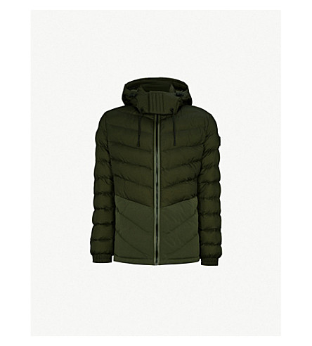 BOSS 绗缝软壳面料夹克 (暗 + 绿)