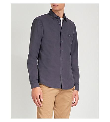 BOSS 修身版型棉衬衫 (深色 + 蓝色)