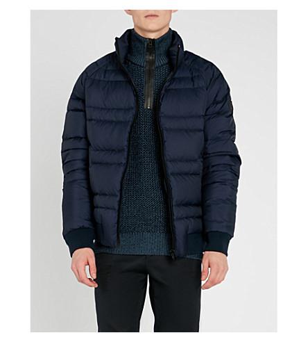 BOSS 标志补丁绗缝夹克 (深色 + 蓝色