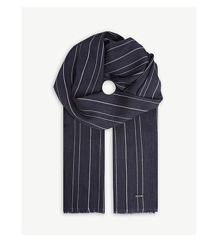 BOSS 条纹羊毛混纺围巾 (开 + 蓝