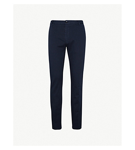 HUGO Slim-fit stretch-cotton trousers (Navy