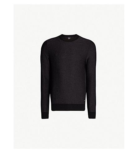 BOSS 圆领棉和羊毛混纺毛衣 (黑色