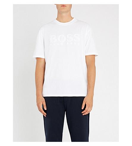 BOSS 徽标详细平纹针织棉 T 恤 (白色