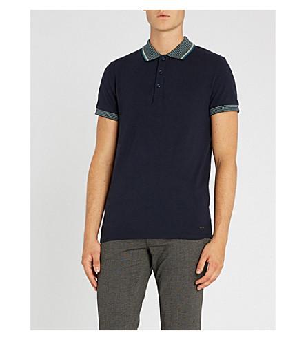 BOSS 对比衣领弹力棉质珠地布 Polo 衫 (暗 + 蓝