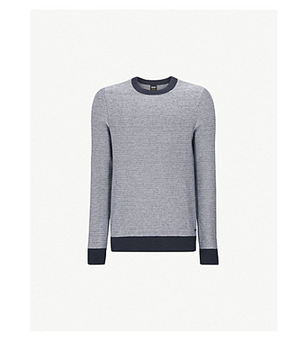 BOSS Contrast-trim towelling jumper (Dark+blue