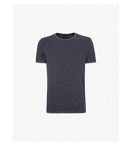 BOSS 圆领平纹针织棉 T 恤 (中 + 蓝
