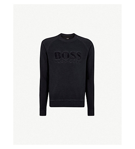 BOSS 徽标细节拉伸-棉卫衣 (深色 + 蓝色