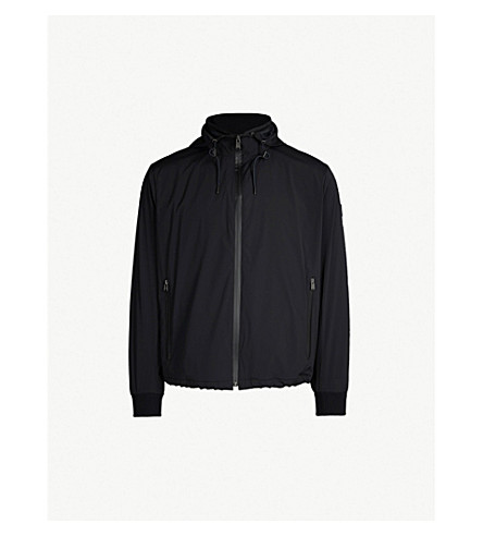 BOSS Rubberised-logo quilted shell jacket (Open+blue