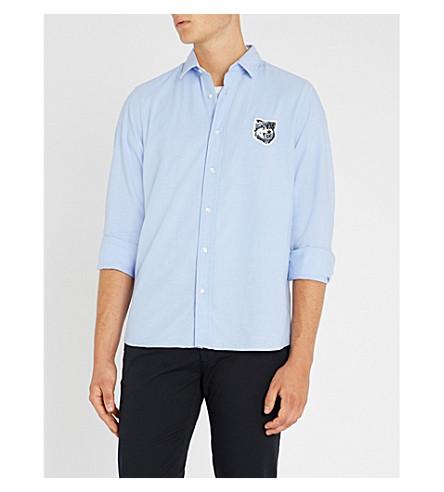 HUGO狼绣修身版型棉衬衫 (浅色/粉彩 + 蓝色)