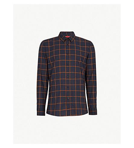 HUGO Checked extra slim-fit cotton-poplin shirt (Rust/copper