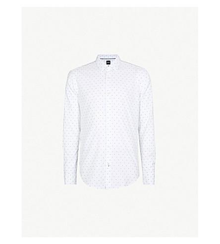 BOSS 几何图案修身版型棉衬衫 (白色