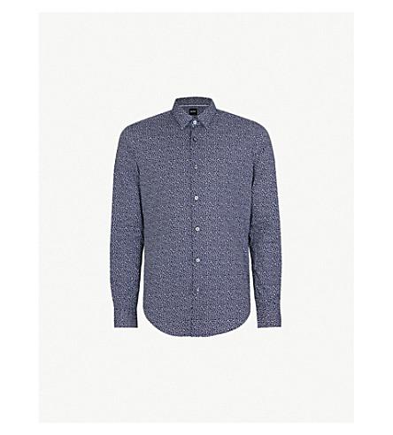 BOSS 几何图案修身版型棉衬衫 (开 + 蓝)