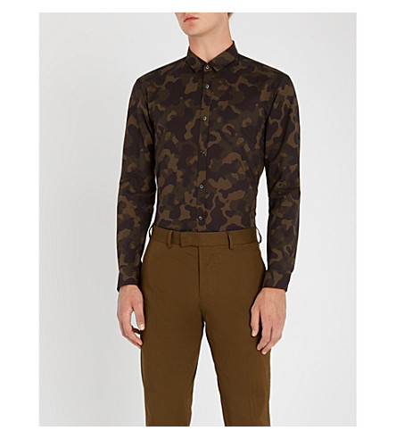 HUGO伪装图案的额外修身版型棉府绸衬衫 (深色 + 绿色