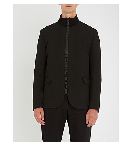 HUGO Stand-collar woven jacket (Black