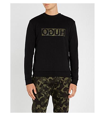 HUGO Reverse logo cotton-jersey T-shirt (Black