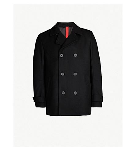 HUGO Notch-lapel wool-blend coat (Black