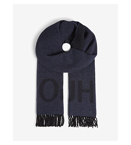 HUGO徽标羊毛混纺围巾 (打开 + 杂项