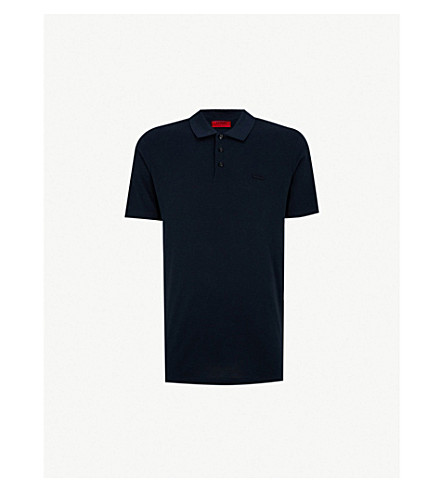 HUGO 刺绣标志棉 Polo 衫 (海军