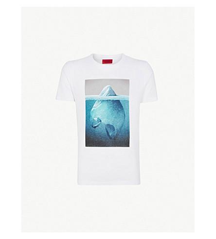 HUGO冰山打印平纹针织棉 T 恤 (白色