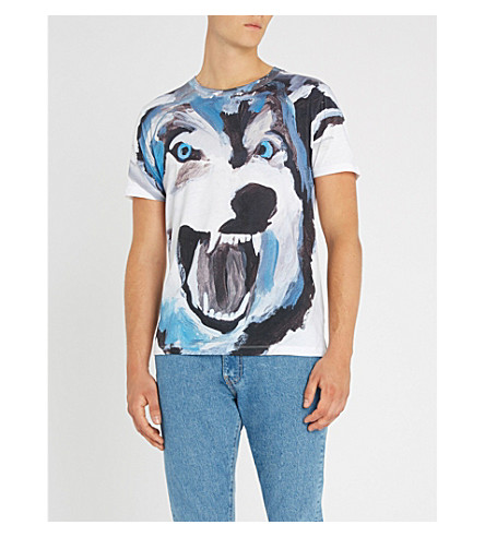 HUGO狼印平纹针织棉 T 恤 (白色