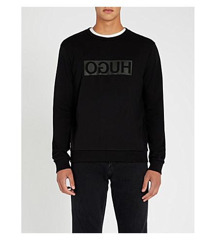 HUGO反向标志平纹针织棉卫衣 (黑色