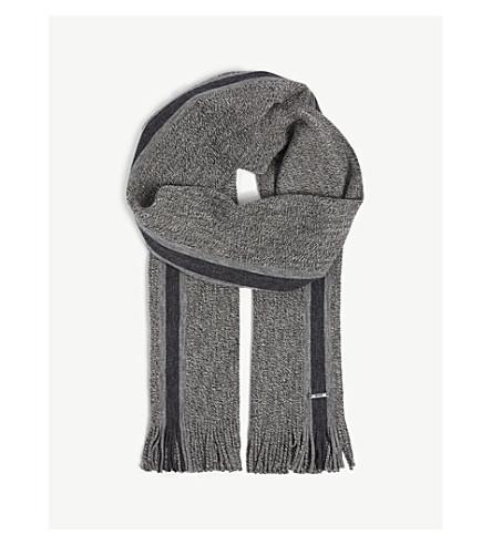 BOSS Striped virgin wool scarf (Black