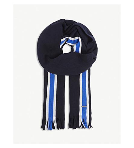 BOSS 条纹初剪羊毛围巾 (开 + 蓝