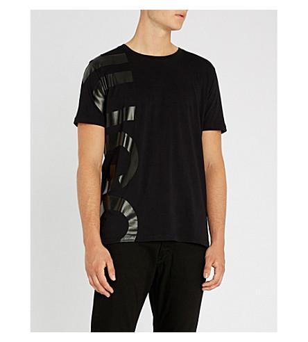 HUGO Logo-print crewneck cotton-jersey T-shirt (Black