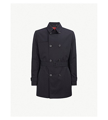 HUGO Woven cotton-blend trench coat (Dark+blue